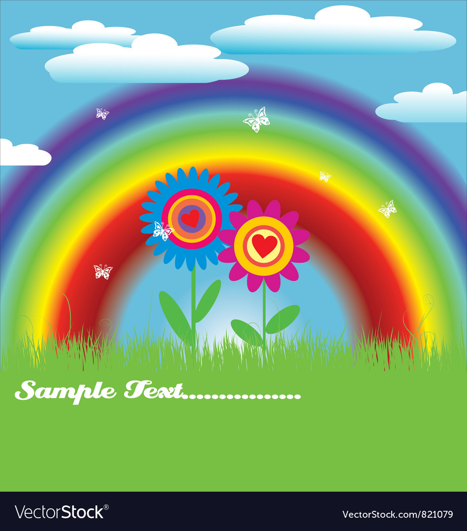 Bright spring with rainbow vector | Price: 1 Credit (USD $1)