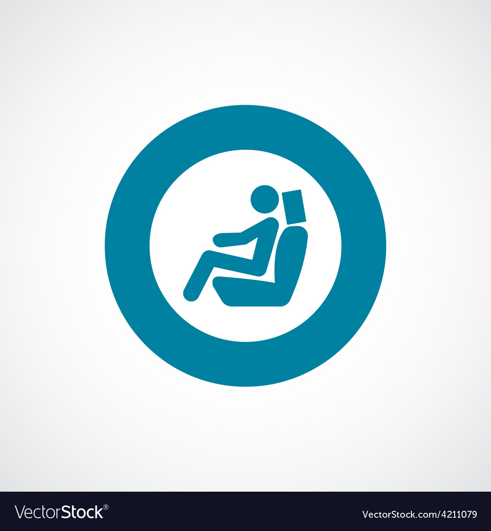 Car seat icon bold blue circle border vector | Price: 1 Credit (USD $1)