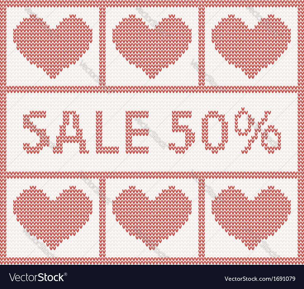 Christmas sale scandinavian style knitted pattern vector | Price: 1 Credit (USD $1)