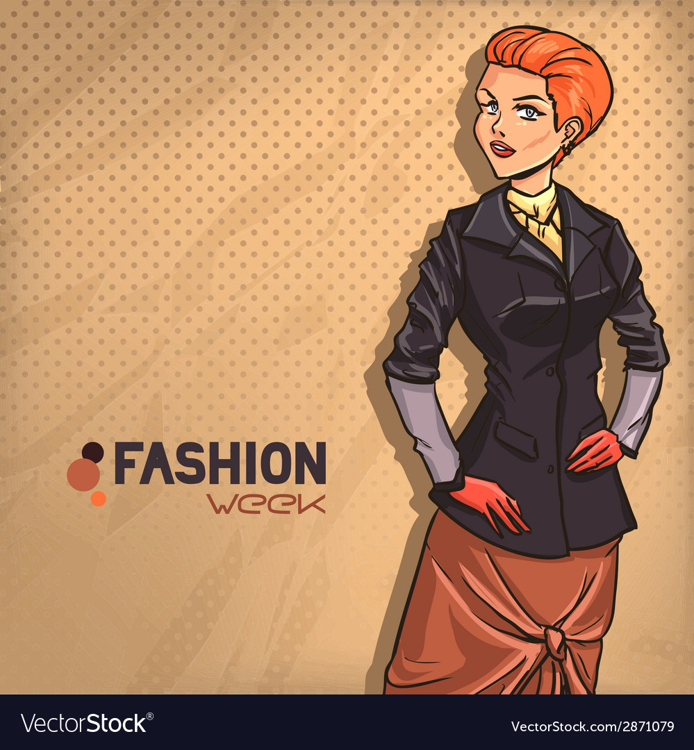 Elegant fashionable lady vector | Price: 3 Credit (USD $3)