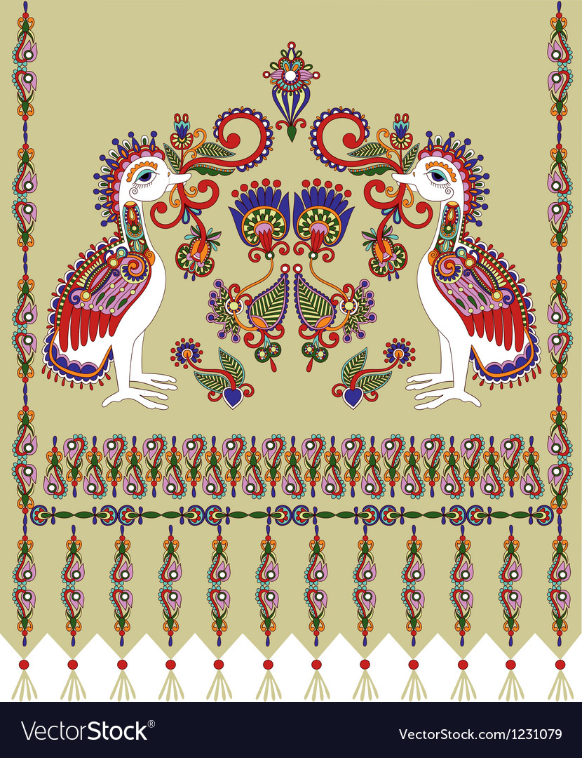 Flower and bird embroidered ethnic vector | Price: 1 Credit (USD $1)