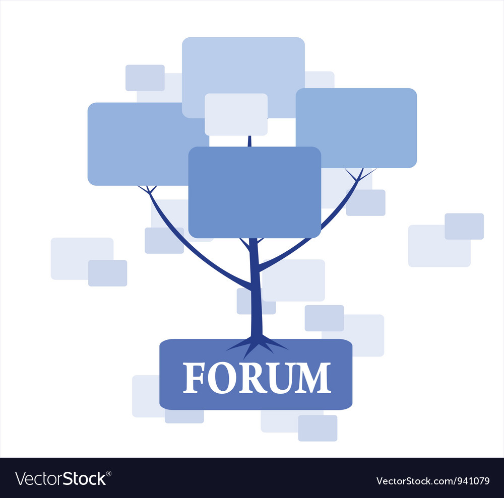 Forum tree in blue color vector | Price: 1 Credit (USD $1)