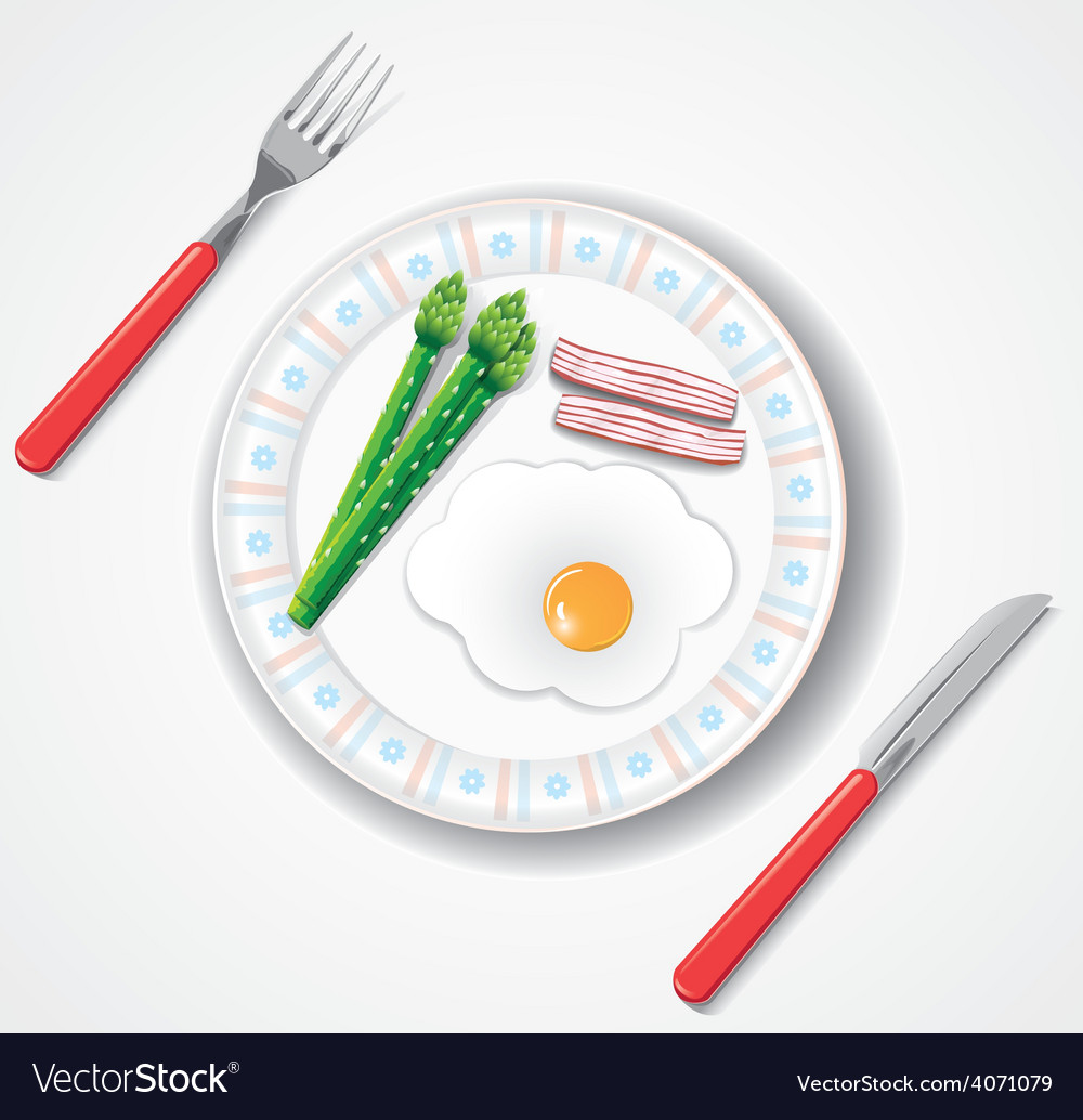 Fried egg bacon and green asparagus browses vector | Price: 1 Credit (USD $1)