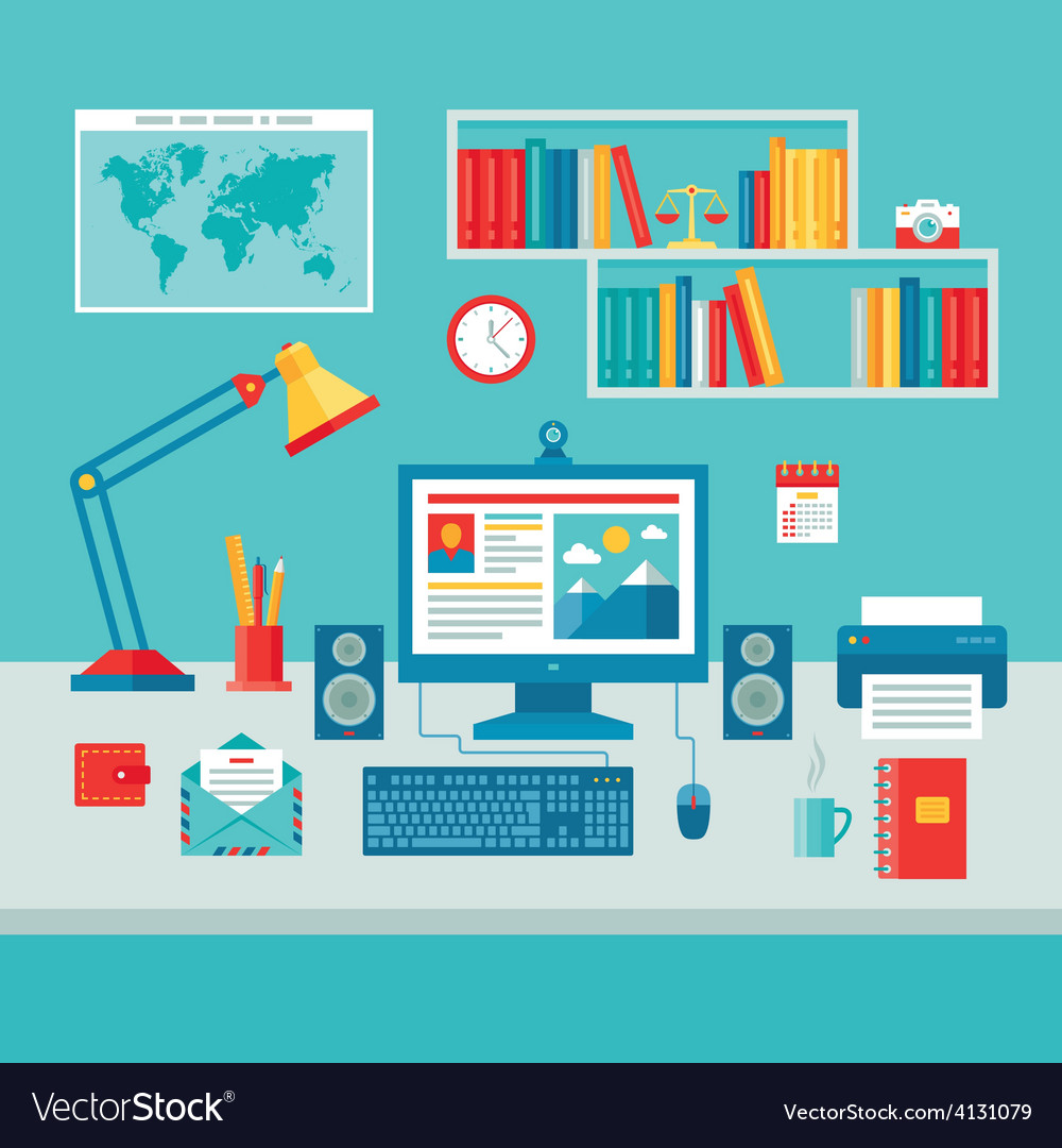 Home business office workplace - flat style vector | Price: 1 Credit (USD $1)