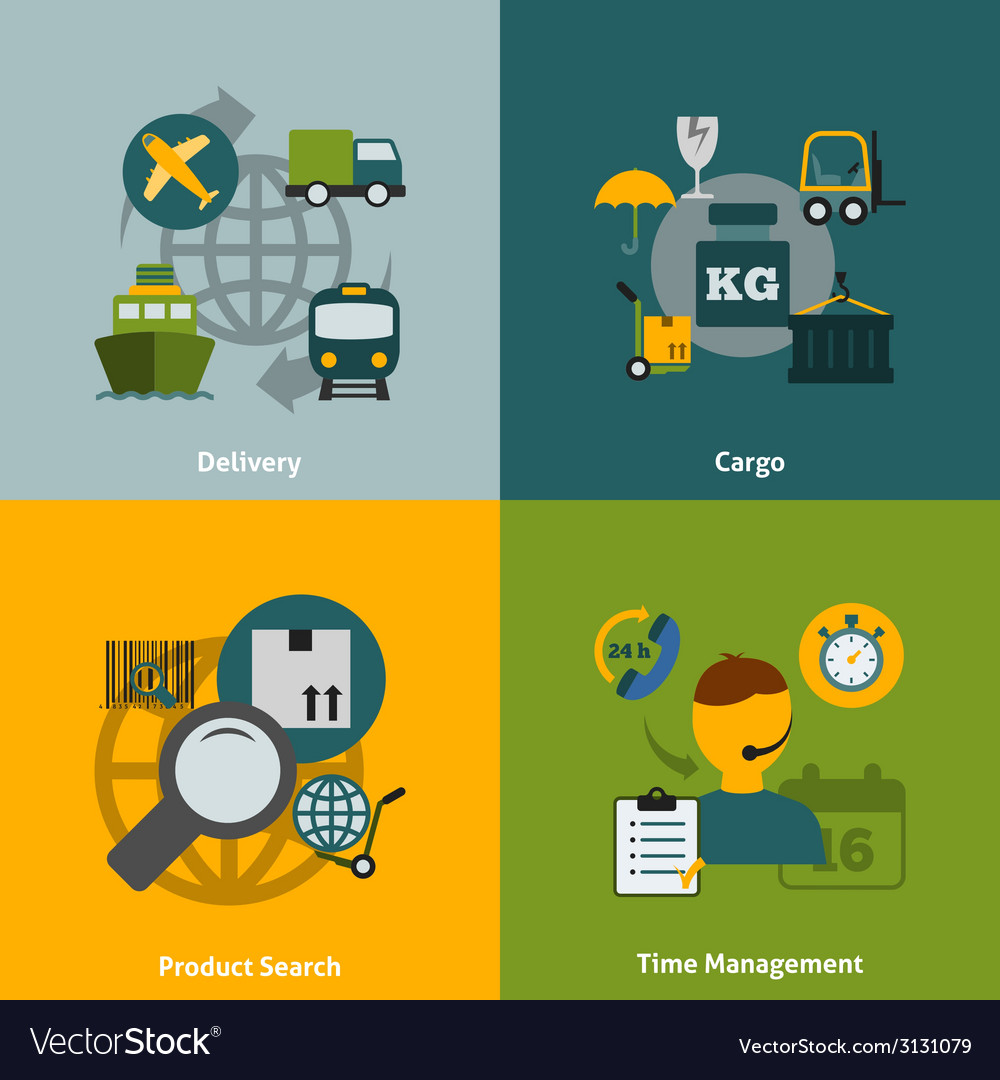 Logistic flat icons composition vector | Price: 1 Credit (USD $1)
