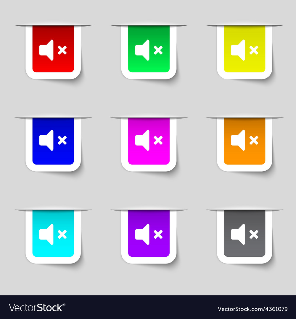 Mute speaker sound icon sign set of multicolored vector | Price: 1 Credit (USD $1)