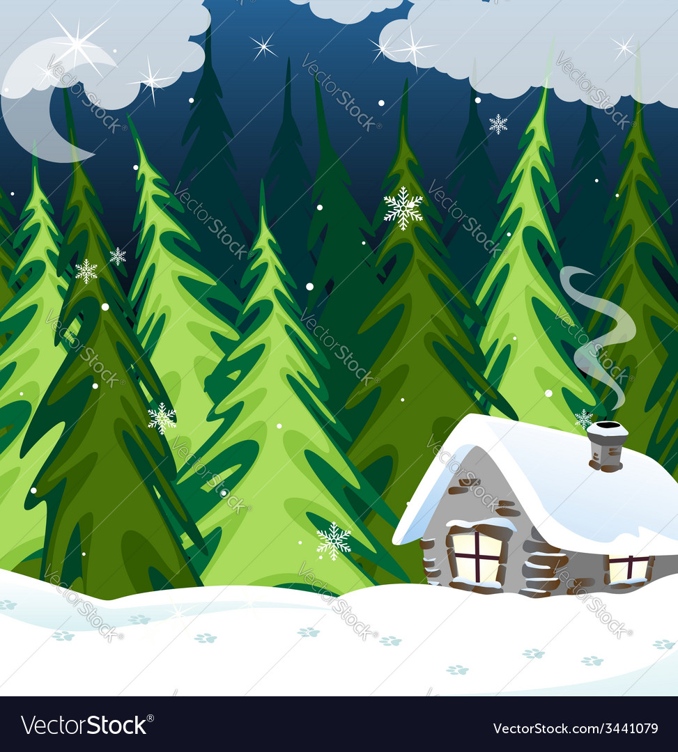 Old brick house in the winter wood vector | Price: 3 Credit (USD $3)