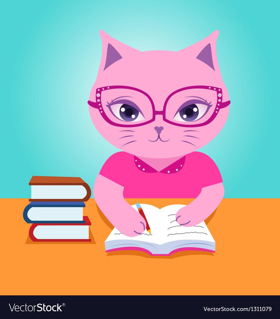 Pink cat do homework vector   Price: 1 Credit (USD $1)