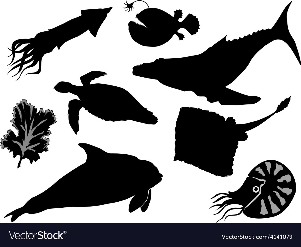 Set of silhouettes of sea animals vector | Price: 1 Credit (USD $1)