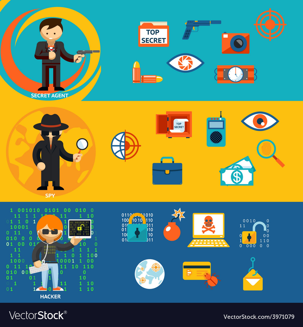 Spy secret agent and cyber hacker characters vector | Price: 1 Credit (USD $1)