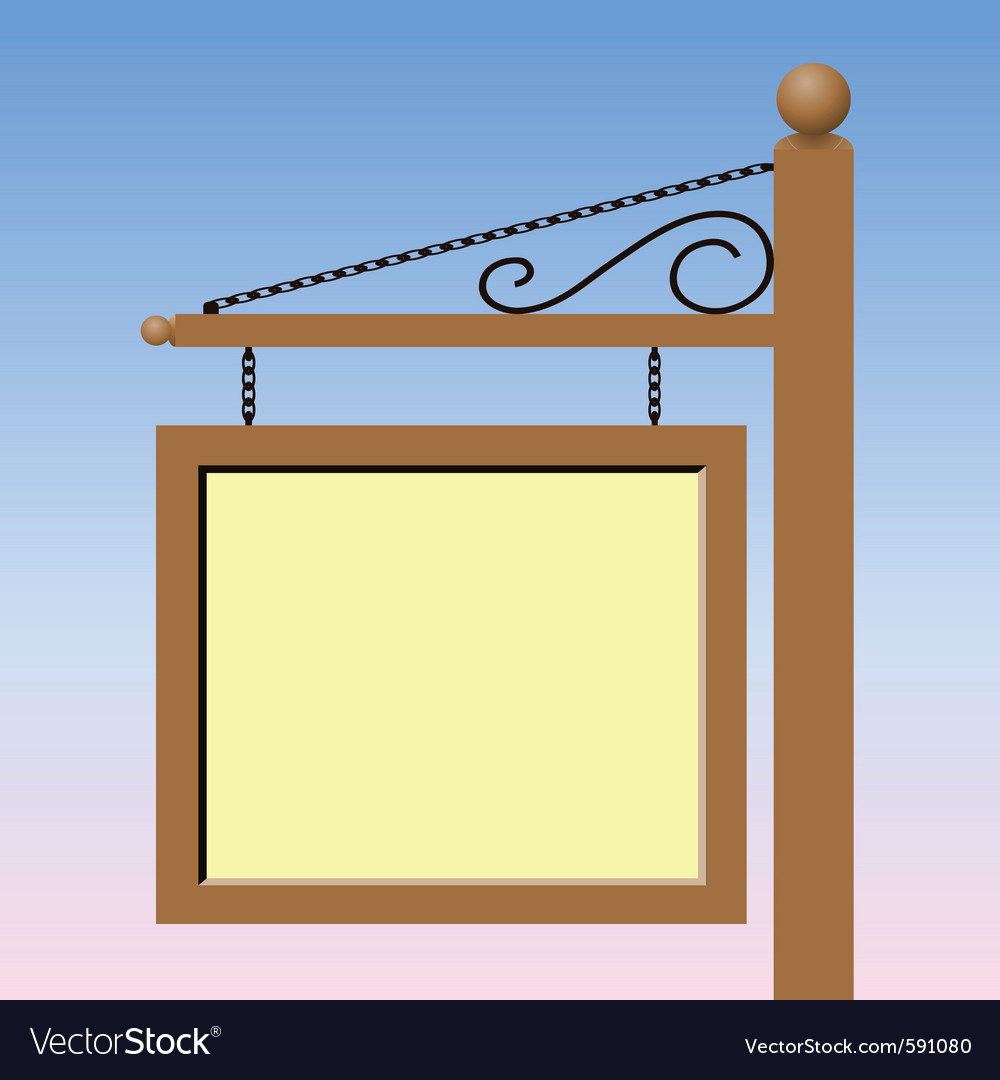 A blank square sign post vector   Price: 1 Credit (USD $1)