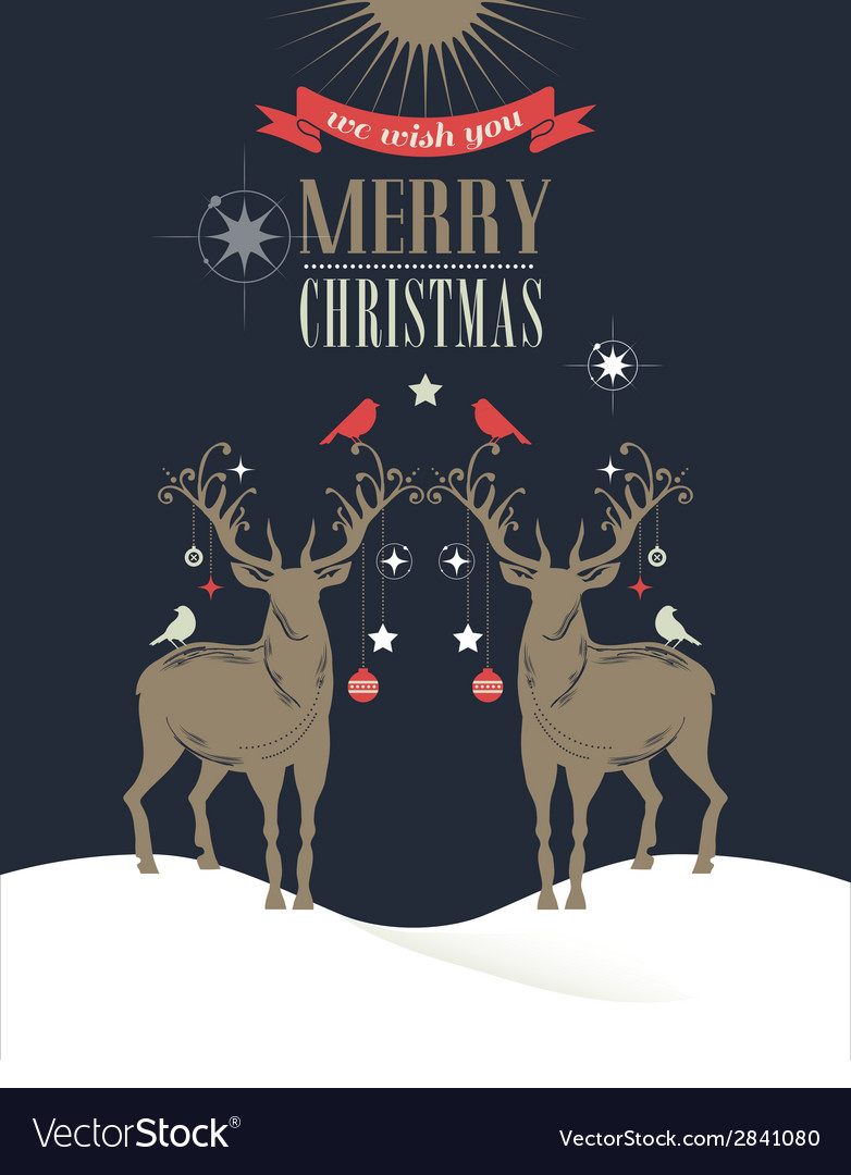 Christmas vintage greeting card retro concept with vector | Price: 1 Credit (USD $1)