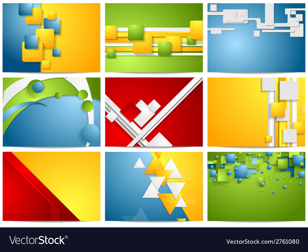 Colorful bright technology backgrounds set vector | Price: 1 Credit (USD $1)