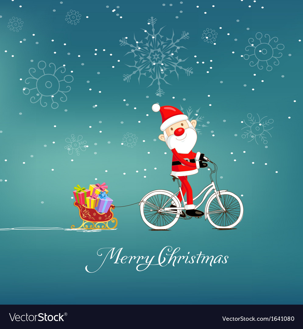 Cute santa claus on bicycle delivering christmas vector | Price: 1 Credit (USD $1)