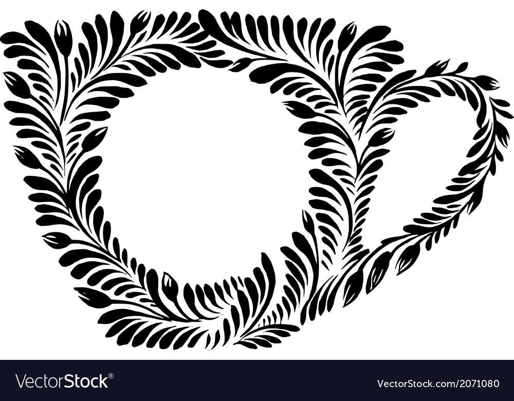 Decorative silhouette teacup vector | Price: 1 Credit (USD $1)