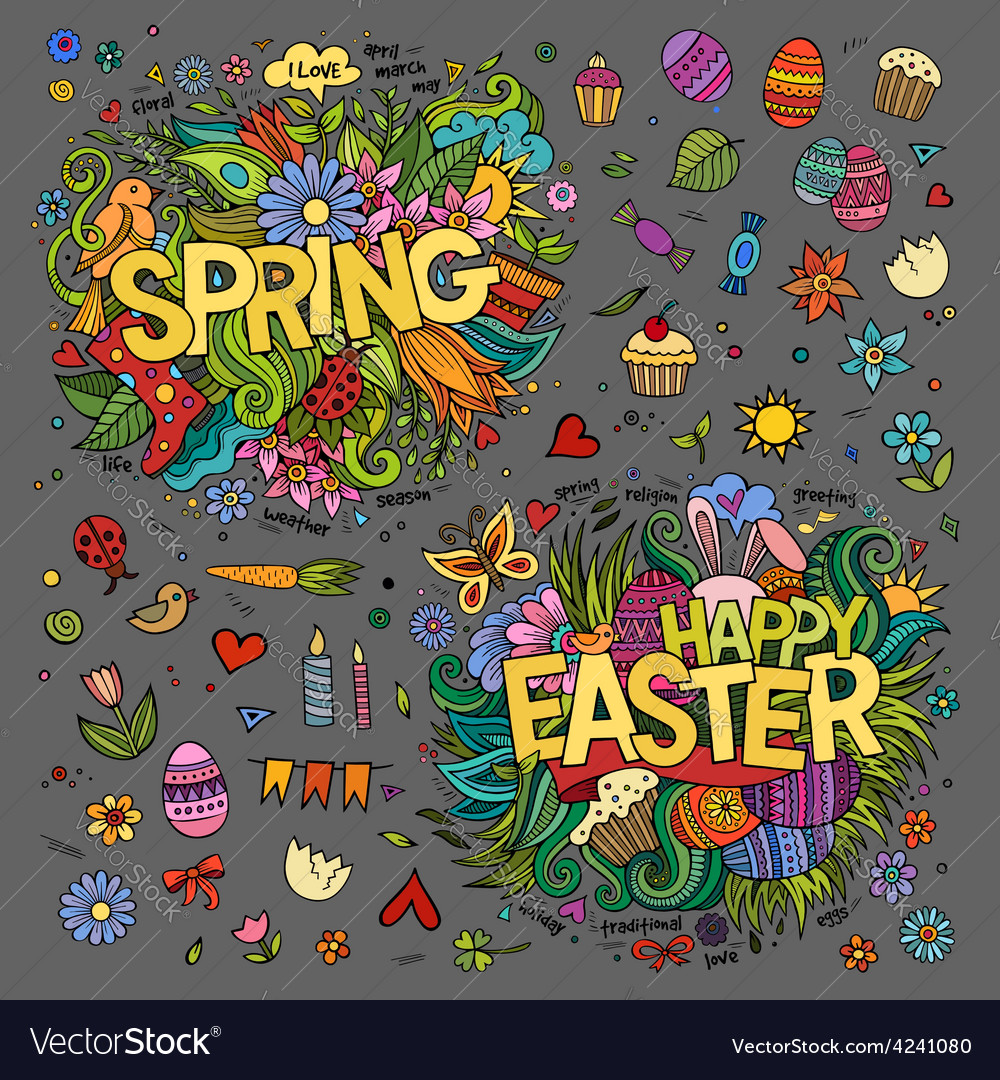 Easter and spring hand lettering and doodles vector | Price: 1 Credit (USD $1)