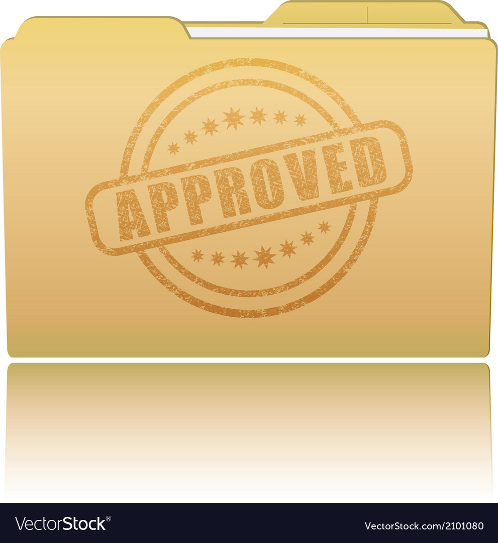 Folder with approved damaged stamp vector   Price: 1 Credit (USD $1)