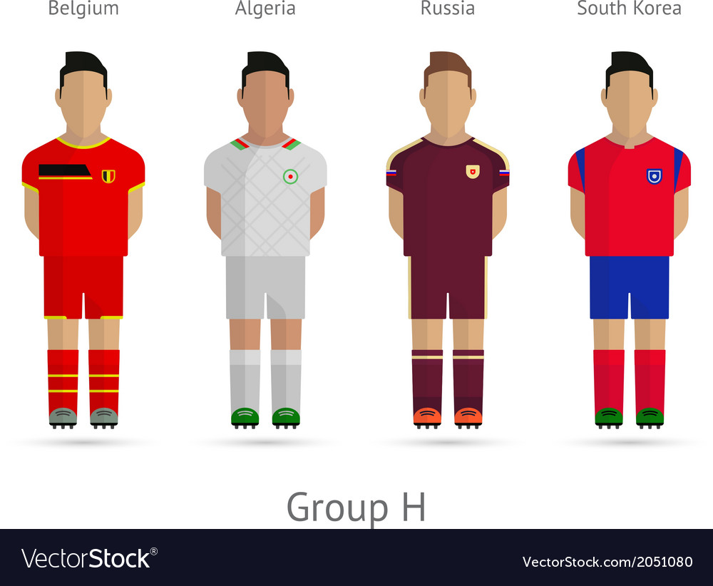 Football teams group h - belgium algeria russia vector | Price: 1 Credit (USD $1)