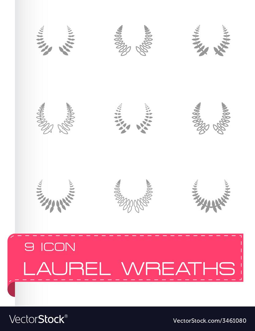 Laurel wreaths icon set vector | Price: 1 Credit (USD $1)