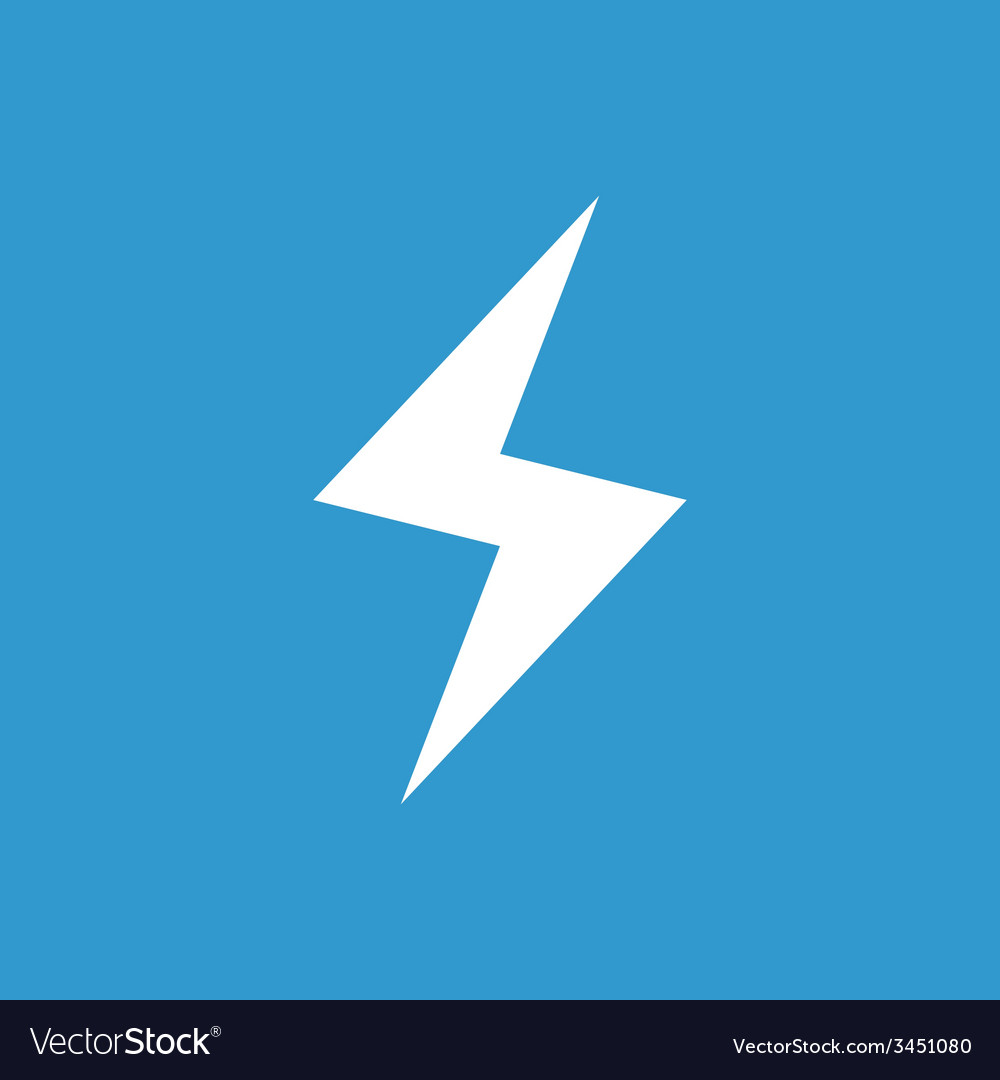 Lightning icon white on the blue background vector | Price: 1 Credit (USD $1)