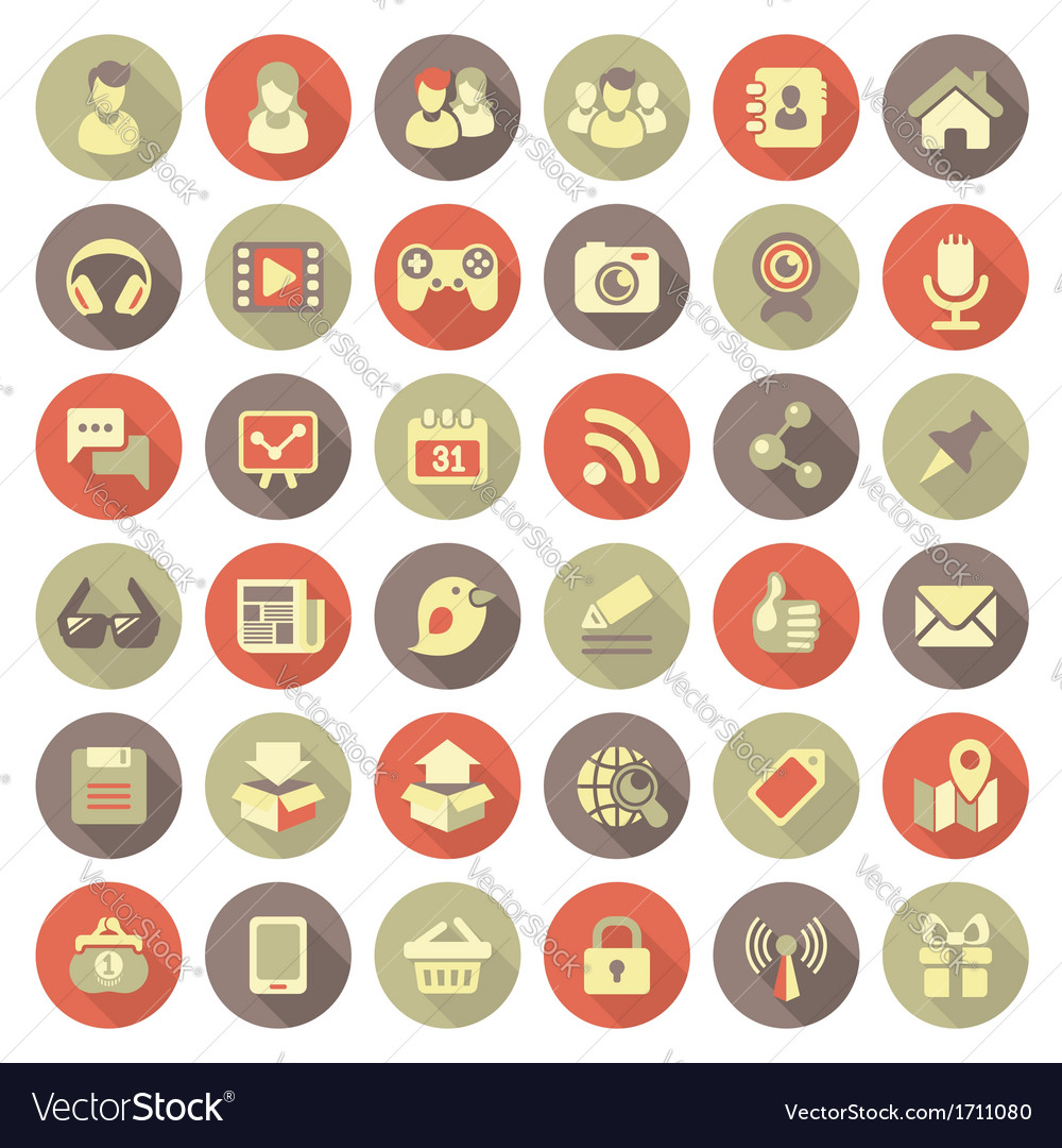 Modern flat social networking icons vector | Price: 1 Credit (USD $1)
