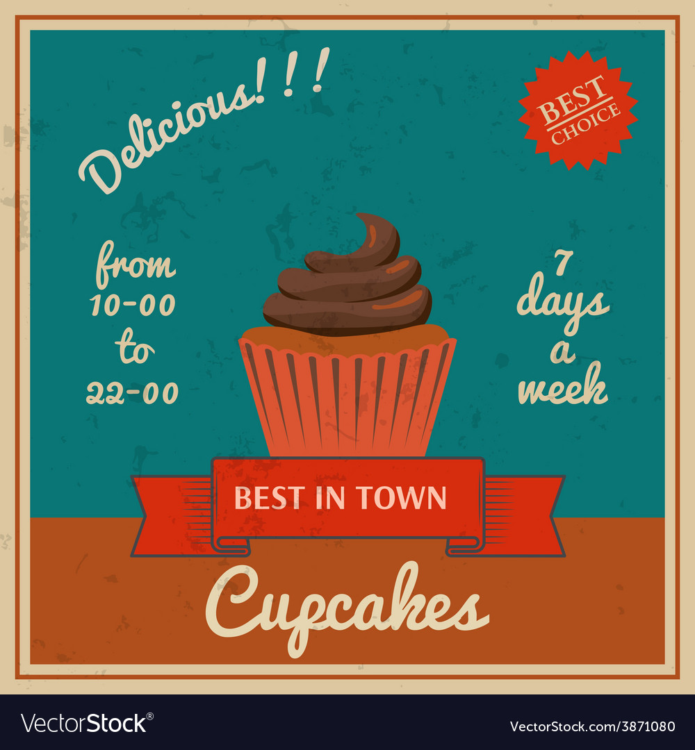 National cupcake day retro poster vector | Price: 1 Credit (USD $1)