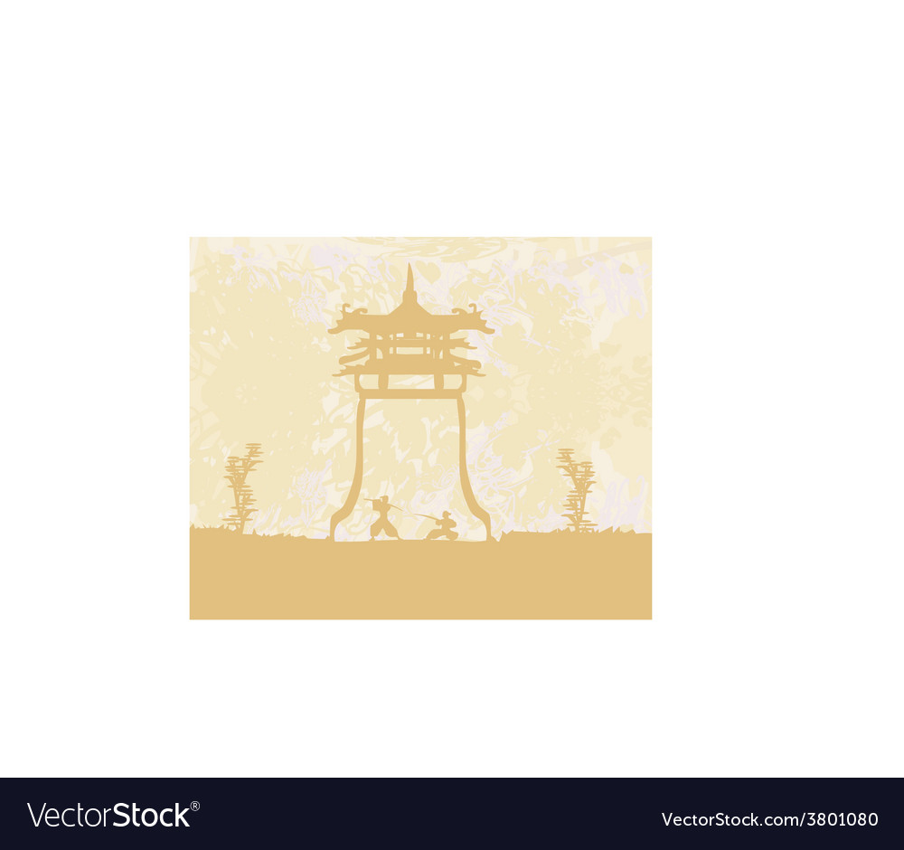 Old paper with samurai silhouette vector | Price: 1 Credit (USD $1)