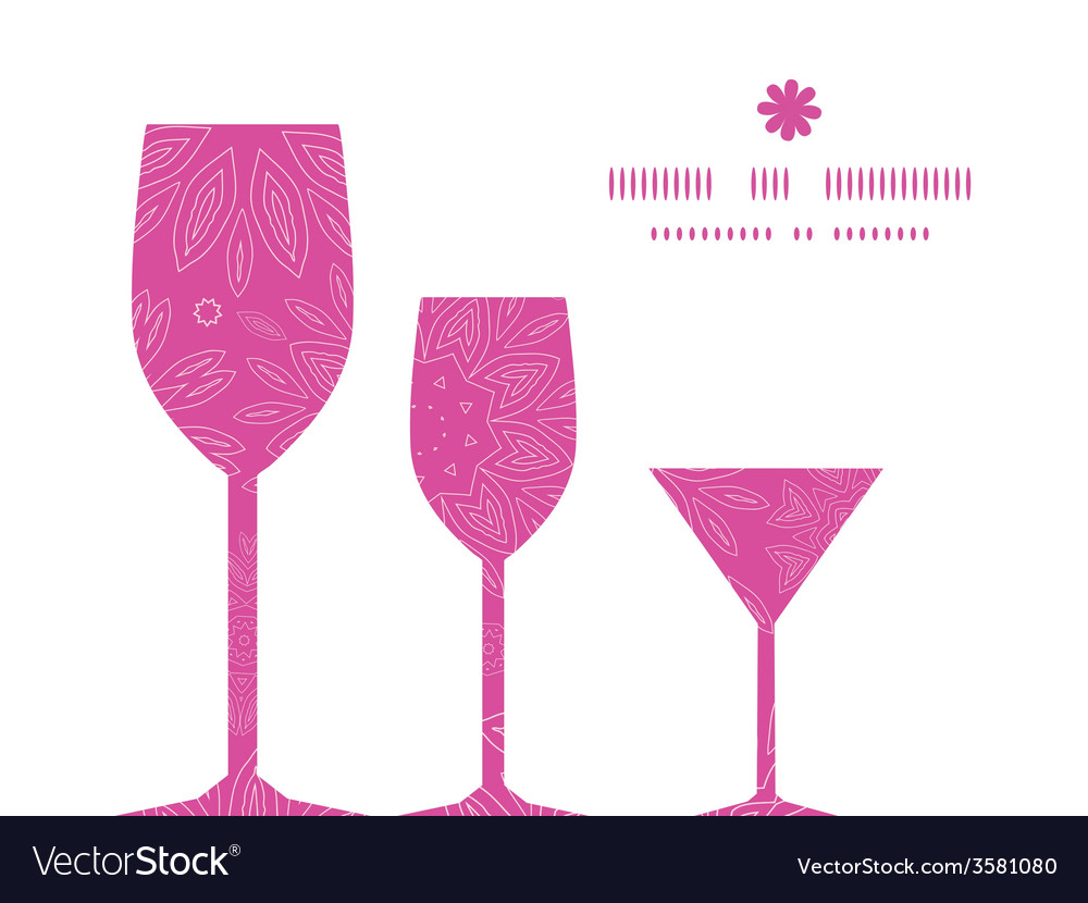 Pink abstract flowers texture three wine glasses vector | Price: 1 Credit (USD $1)