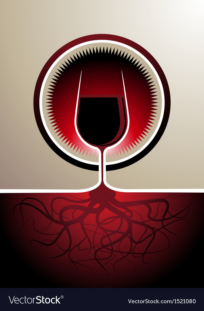 Red wine icon with the glass as the vine vector | Price: 1 Credit (USD $1)