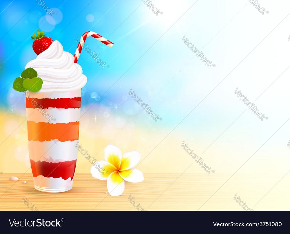 Strawberry creamy dessert cocktail on blurred vector   Price: 3 Credit (USD $3)