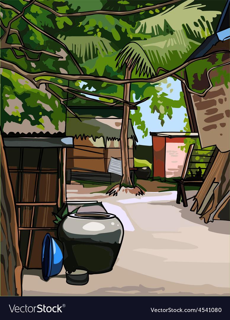 Village in the tropics vector | Price: 3 Credit (USD $3)