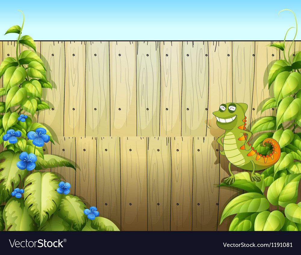 A lizard near the fence vector | Price: 1 Credit (USD $1)