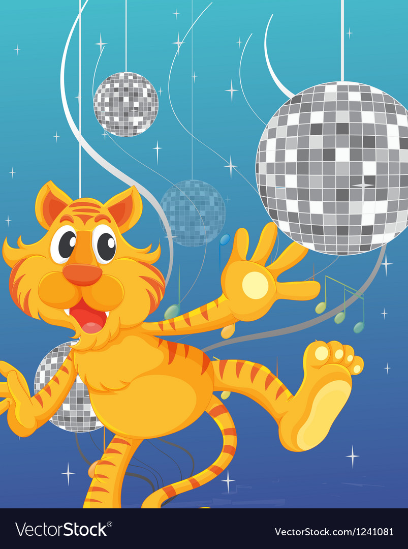 A tiger and the disco lights vector | Price: 1 Credit (USD $1)