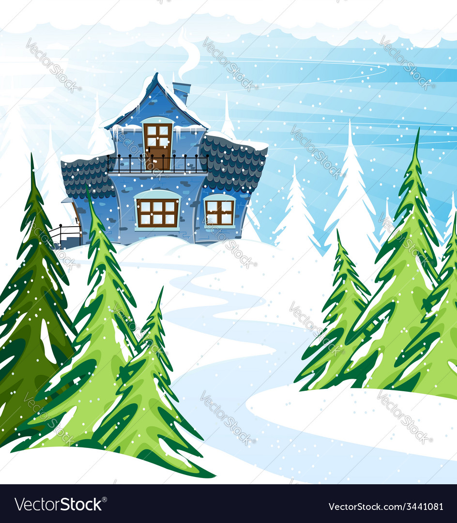 Blue house in a pine forest vector | Price: 3 Credit (USD $3)