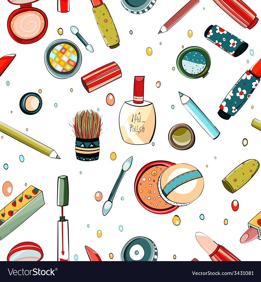 Colorful makeup seamless pattern on white vector | Price: 1 Credit (USD $1)