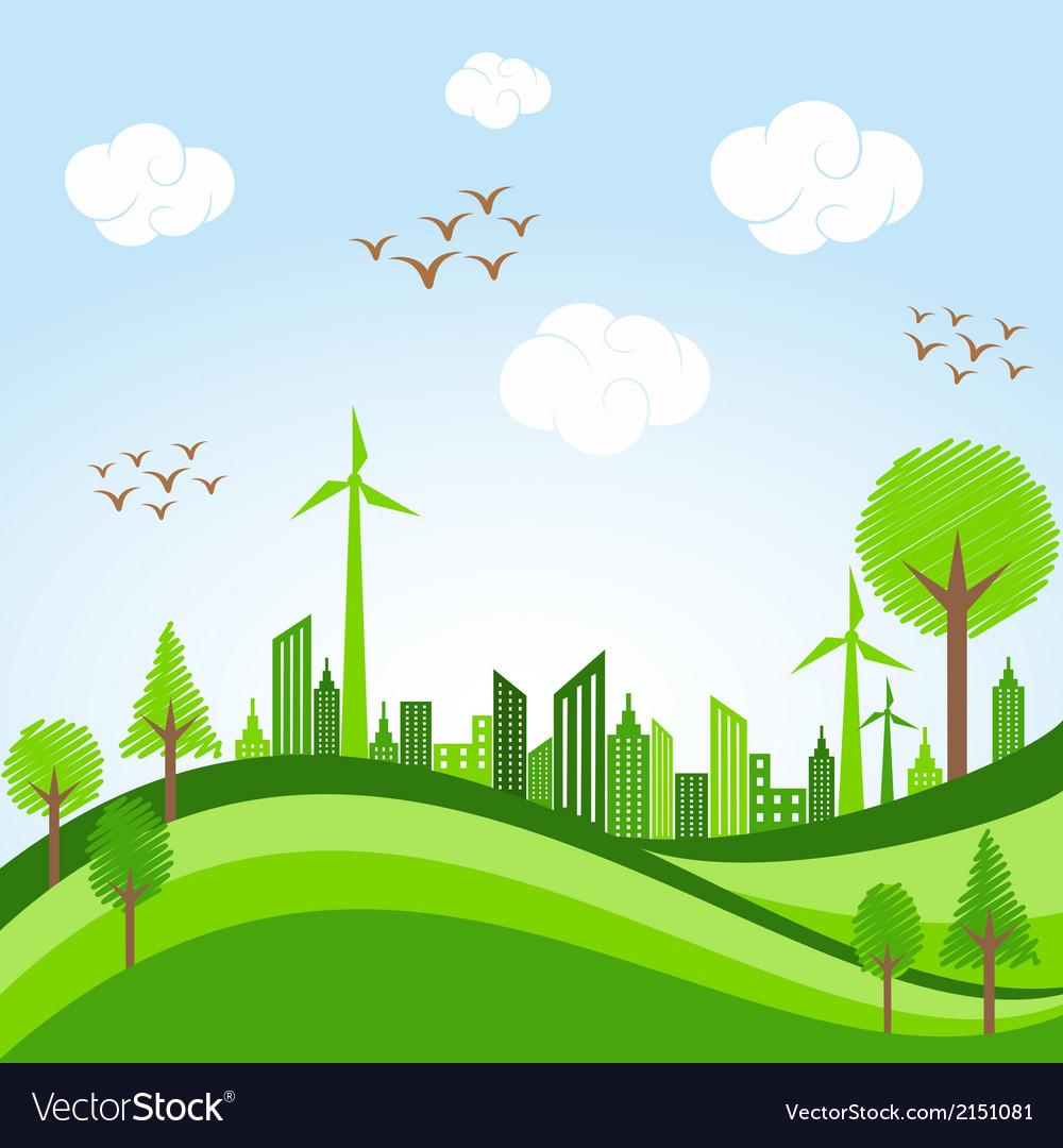 Eco cityscape -go green concept vector | Price: 1 Credit (USD $1)