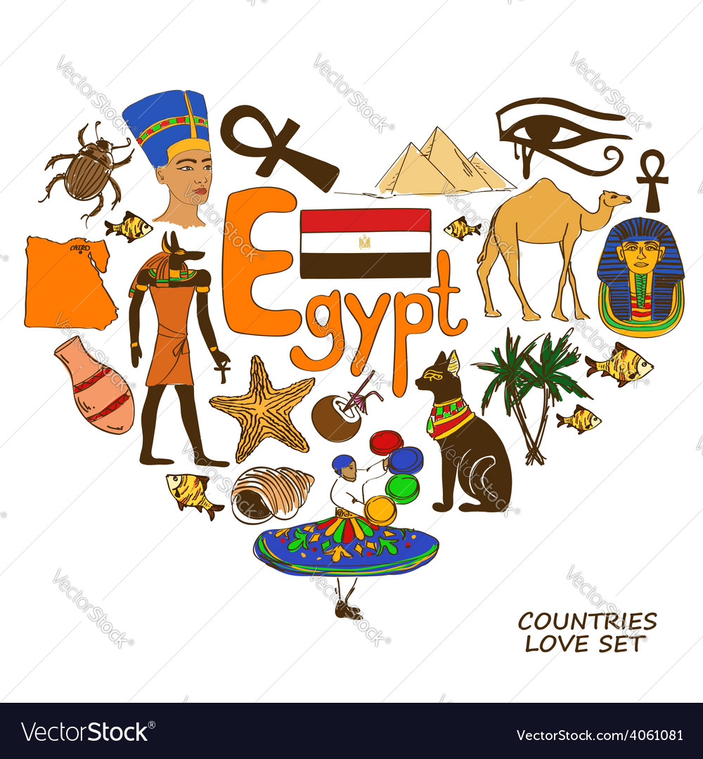 Egyptian symbols in heart shape concept vector   Price: 1 Credit (USD $1)