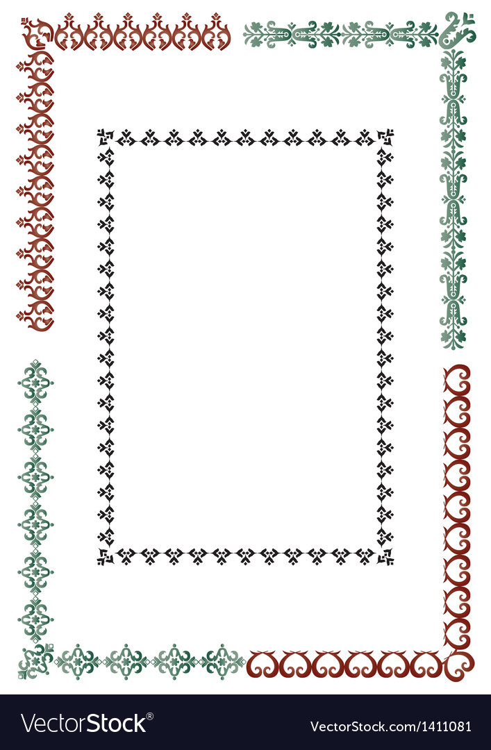 Elegant border set vector | Price: 1 Credit (USD $1)