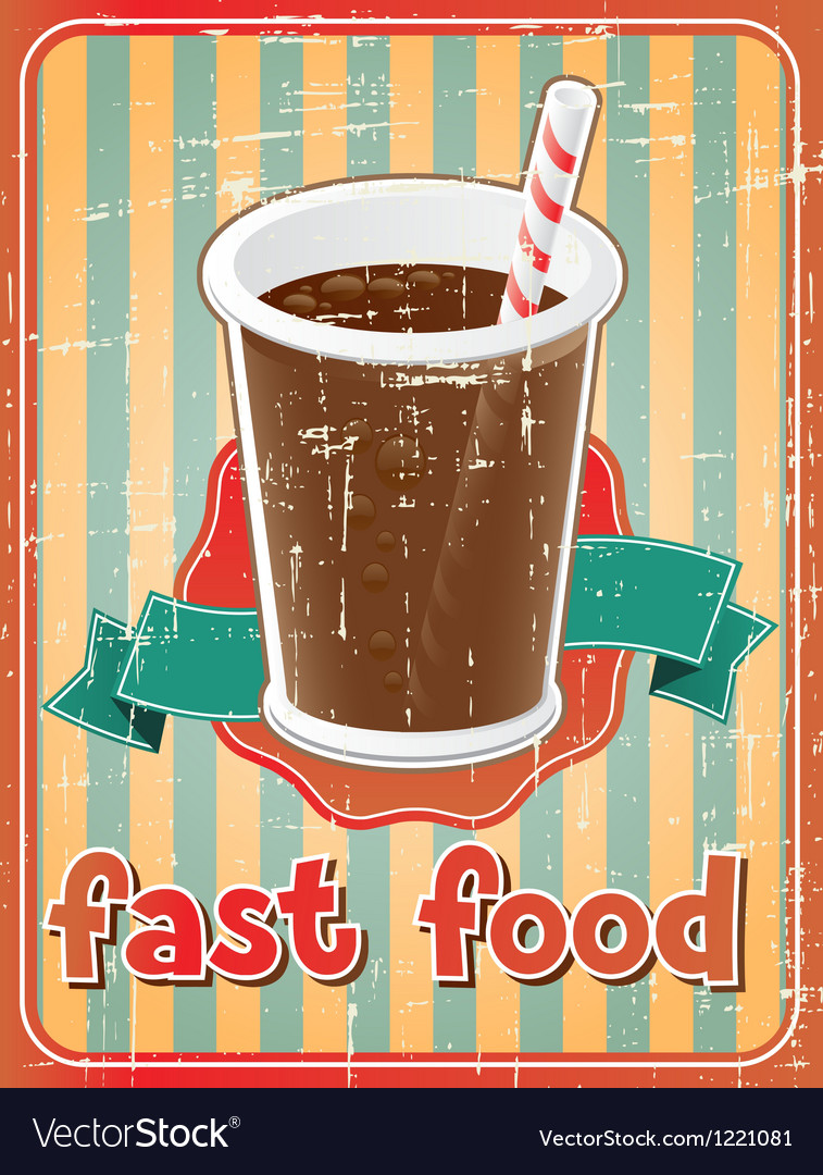 Fast food background with drink in retro style vector | Price: 1 Credit (USD $1)