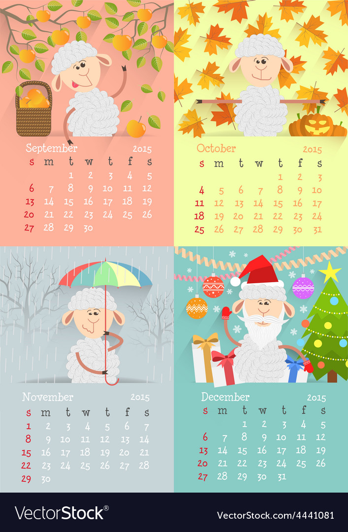 Flat design lamb calendar vector | Price: 1 Credit (USD $1)