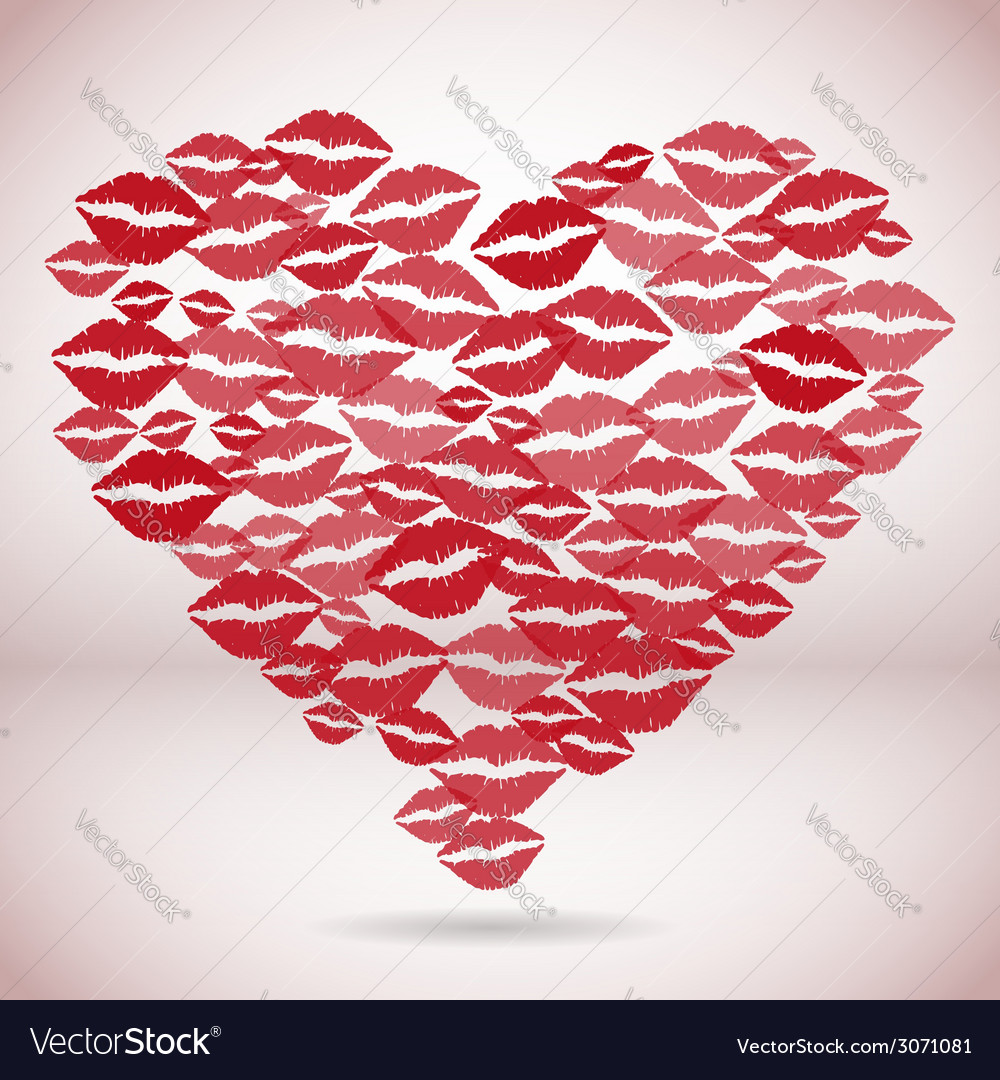 Heart shape made with print kisses vector | Price: 1 Credit (USD $1)