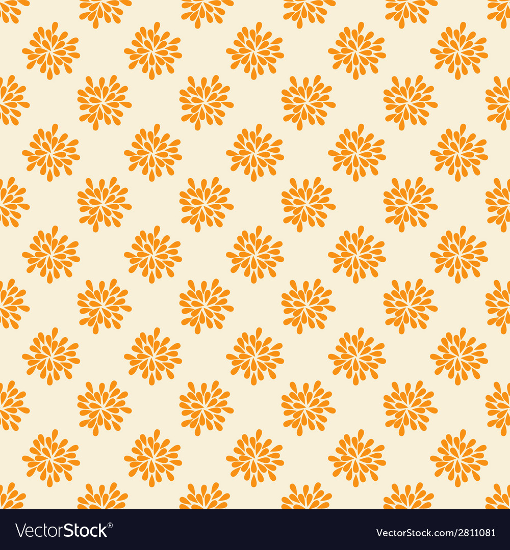 Seamless pattern with abstract orange flowers vector | Price: 1 Credit (USD $1)