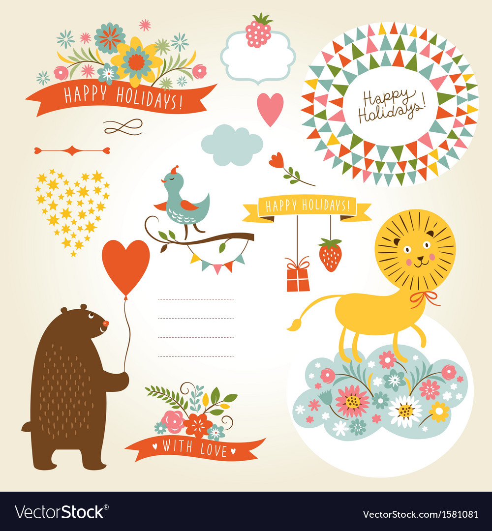 Set of holiday graphic elements and cute animals vector | Price: 1 Credit (USD $1)