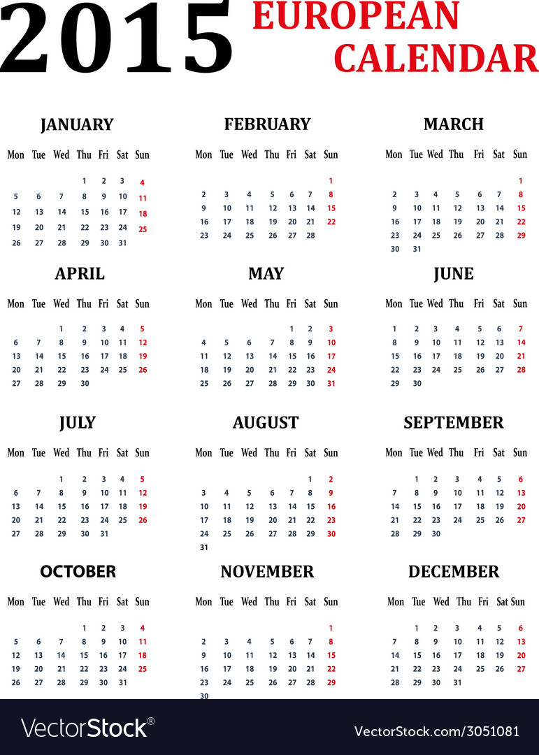Simple european calendar for 2015 vector | Price: 1 Credit (USD $1)