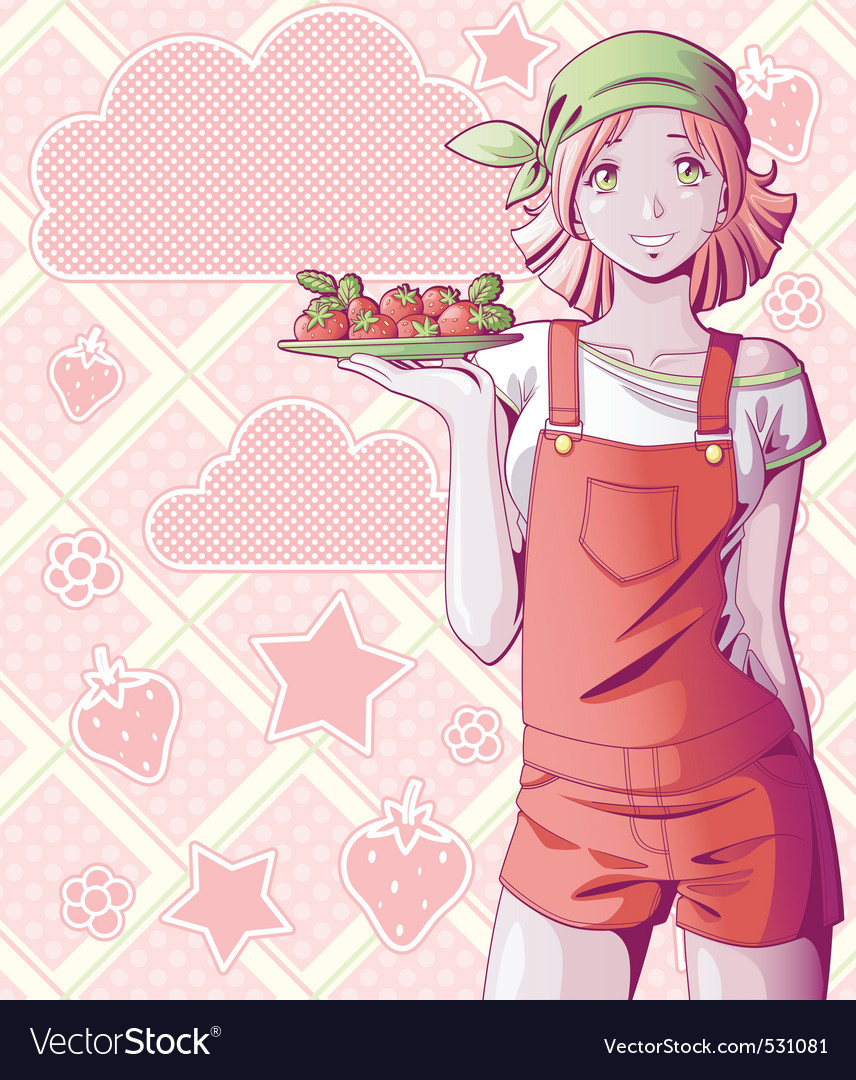 Strawberry girl vector | Price: 3 Credit (USD $3)