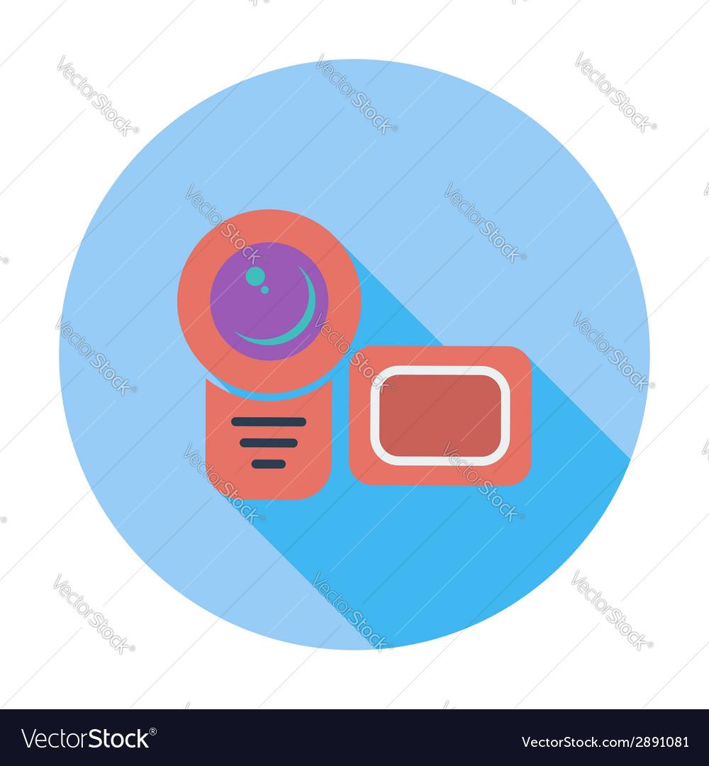 Video camera single flat icon vector | Price: 1 Credit (USD $1)