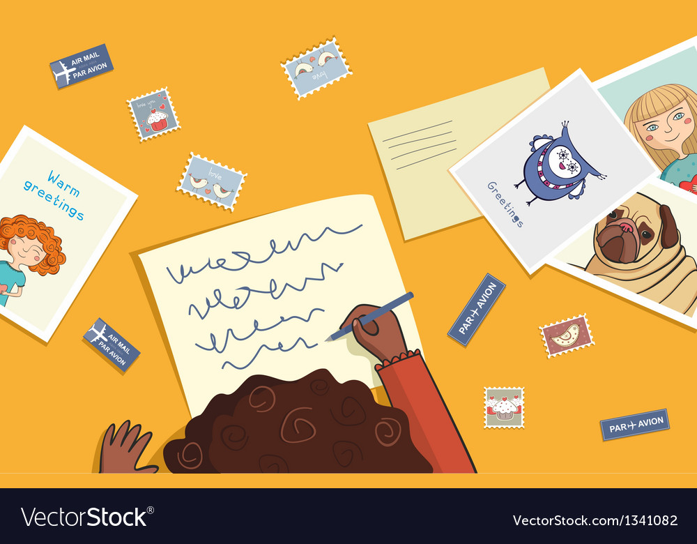 African girl writes a letter vector | Price: 1 Credit (USD $1)
