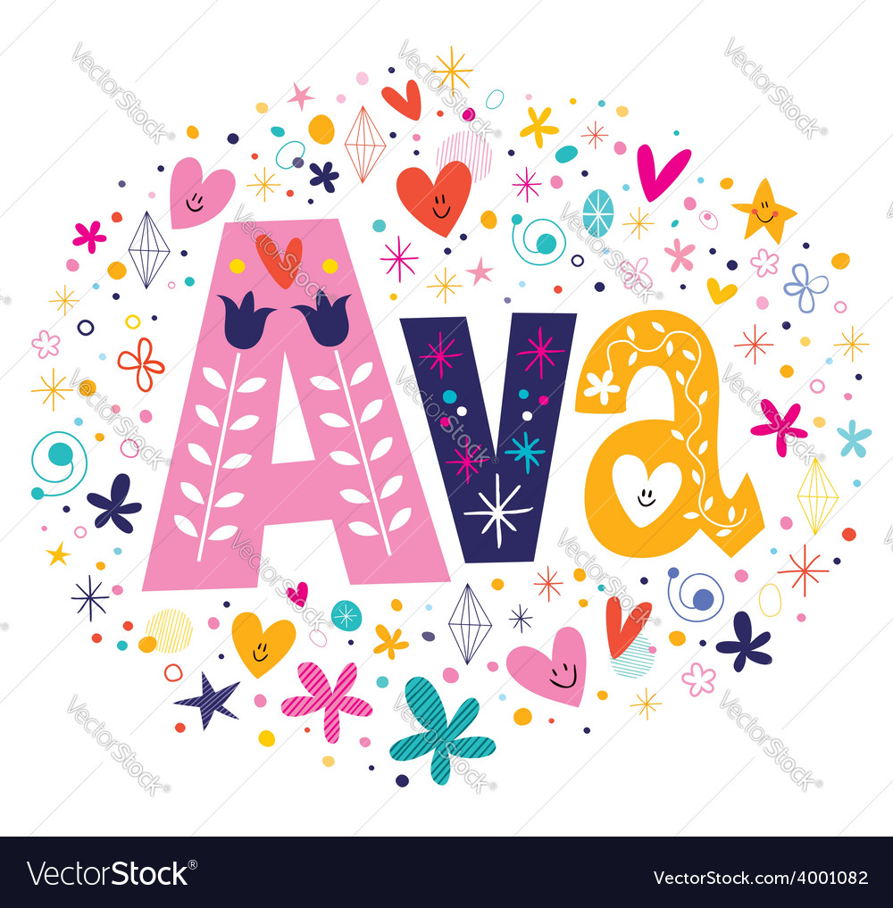 Ava female name decorative lettering type design vector | Price: 1 Credit (USD $1)