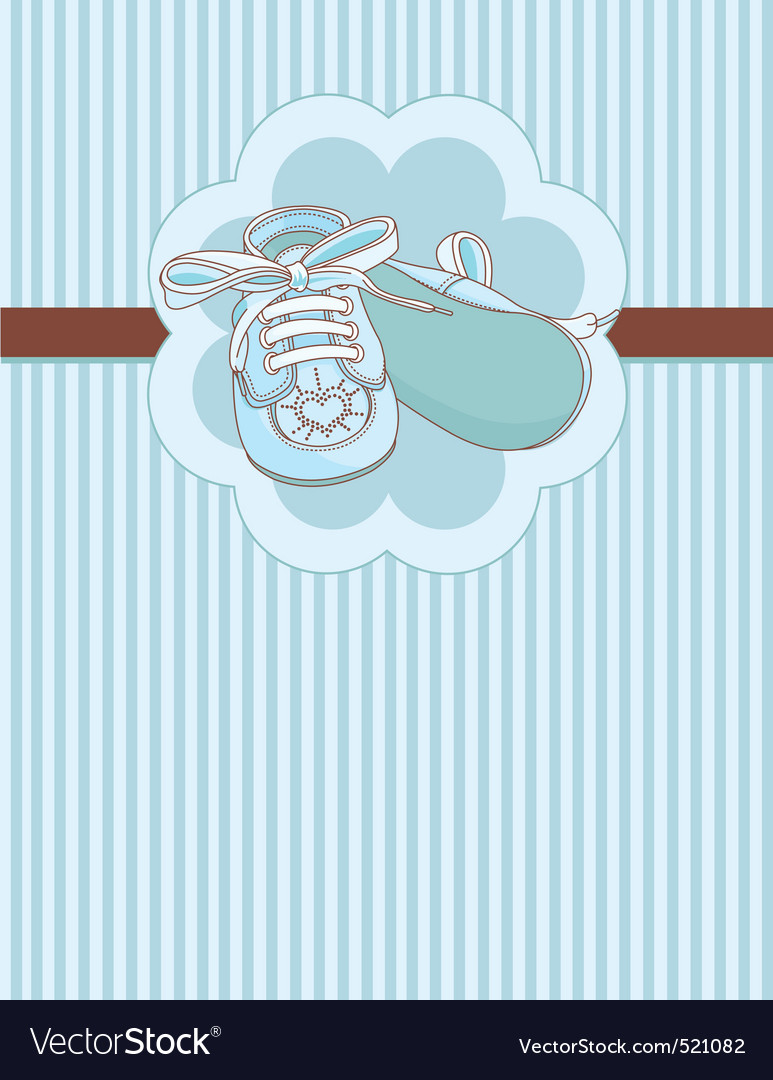 Blue baby shoes place card vector | Price: 1 Credit (USD $1)
