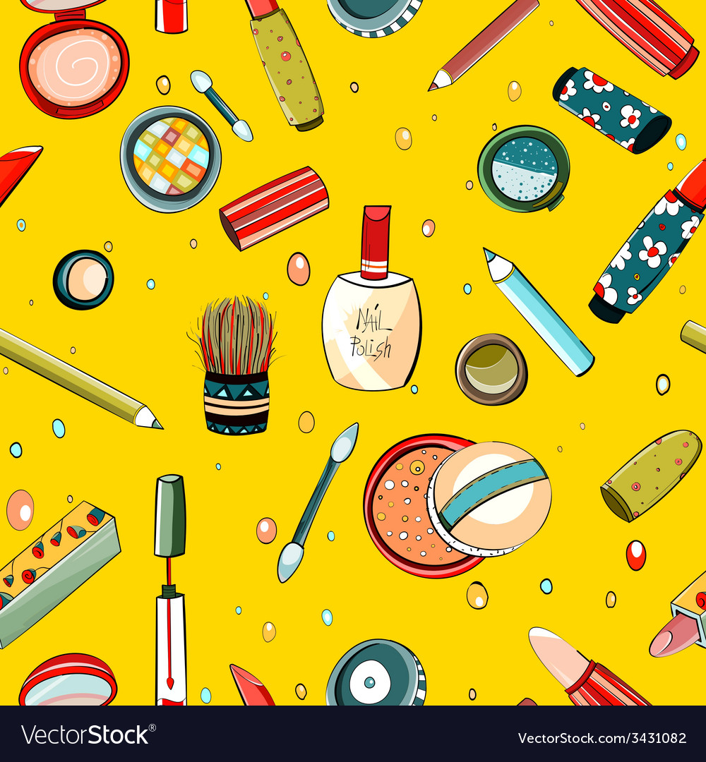 Colorful makeup seamless pattern on yellow vector | Price: 1 Credit (USD $1)